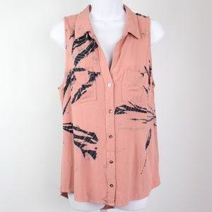 Rock & Republic pink blue tie-dye sleeveless top